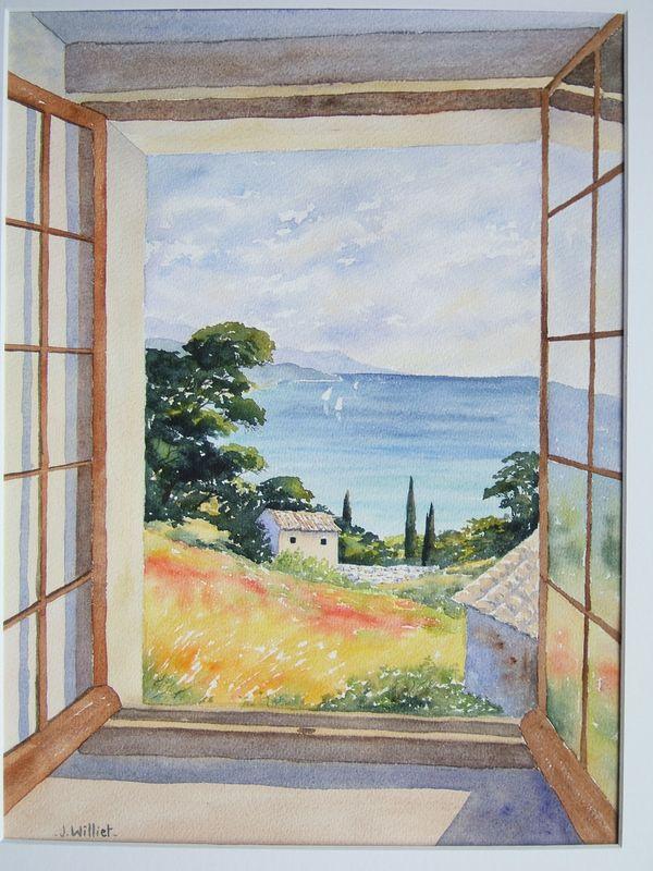 Une fen tre ouverte 30 40 jacques williet aquarelliste for Fenetre ouverte sur paysage