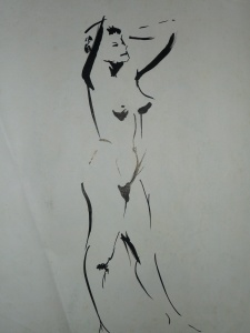 La pose (encre de chine) - 1 minute