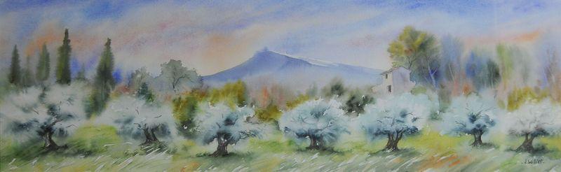 Oliviers au mont Ventoux (20x70) VENDU