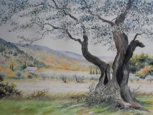 4- Finition du feuillage au pinceau fin, rajout de cyprès et détails du tronc