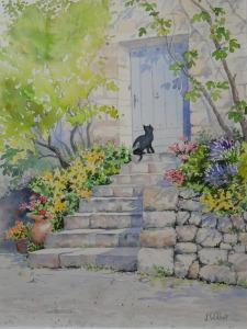 Le chat sur les marches