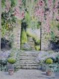 L'entrée sous les rosiers* (35 x 55 cm)