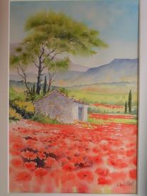 Le cabanon aux coquelicots (24 x32 cm)