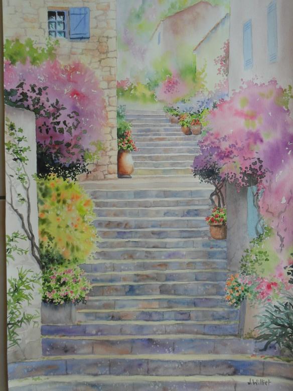 Les marches fleuries (43 x 60 cm)