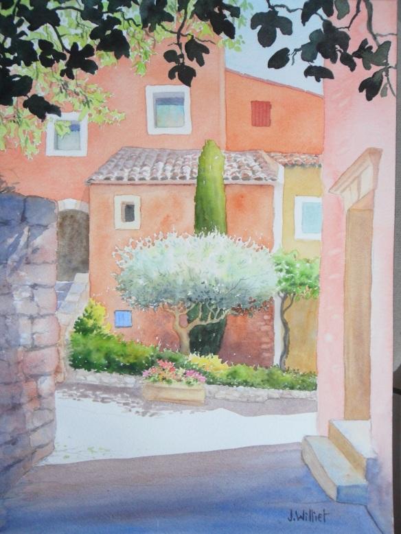 Façades à Roussillon (30 x 40 cm)