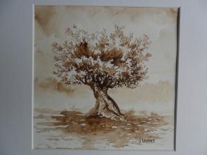 L'olivier (20 x 20 cm - Brou de noix)