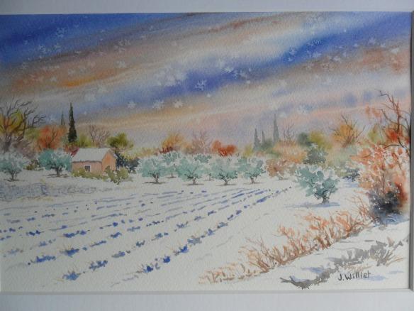 Neige sur les lavandes (20 x 30 cm)