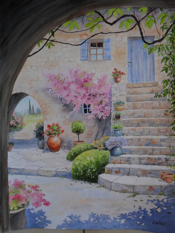 Le patio fleuri (45 x 60 cm)