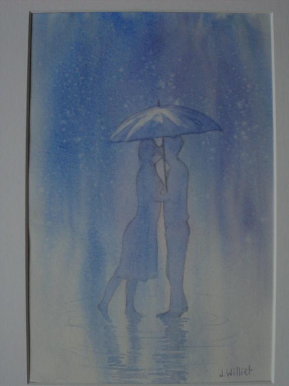 Un baiser sous la pluie