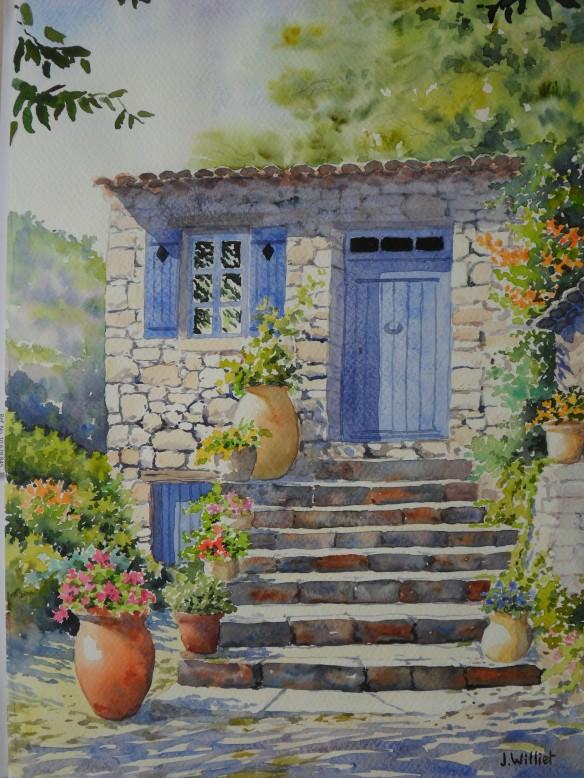 La porte bleue en haut des marches