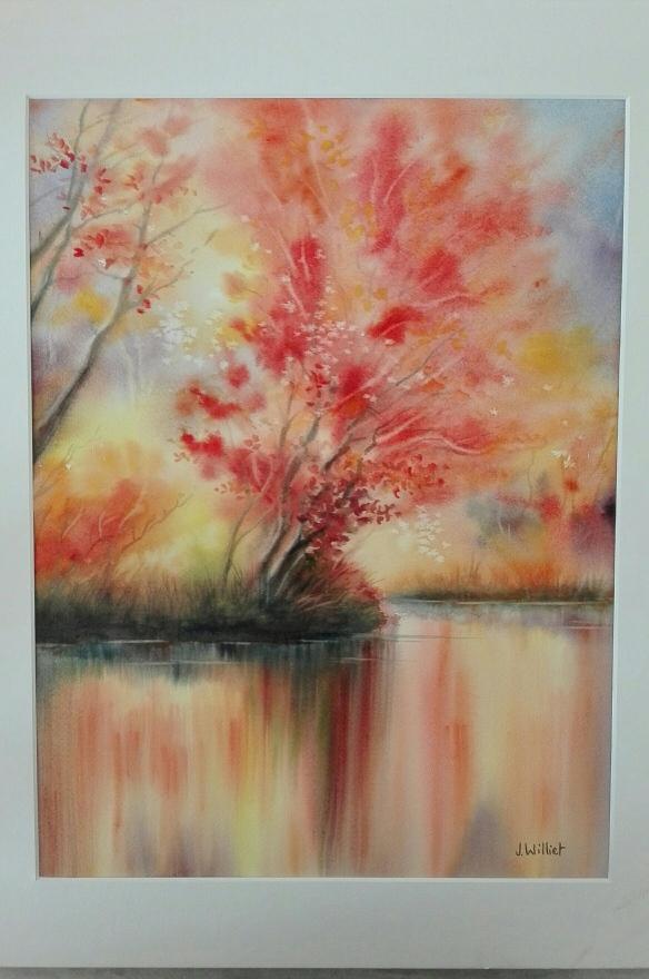L'arbre rouge en reflets