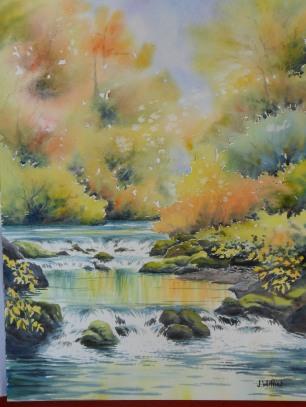 Reflets et cascade d'automne (30x40cm)