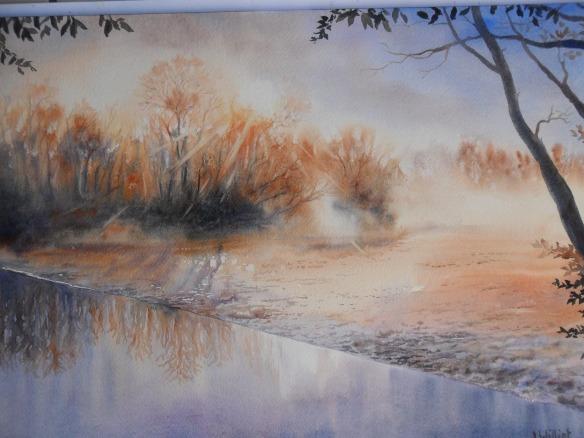 brume matinale au partage des eaux - 30 x 40 cm