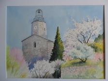 l'église du Beaucet (30 x 40 cm)