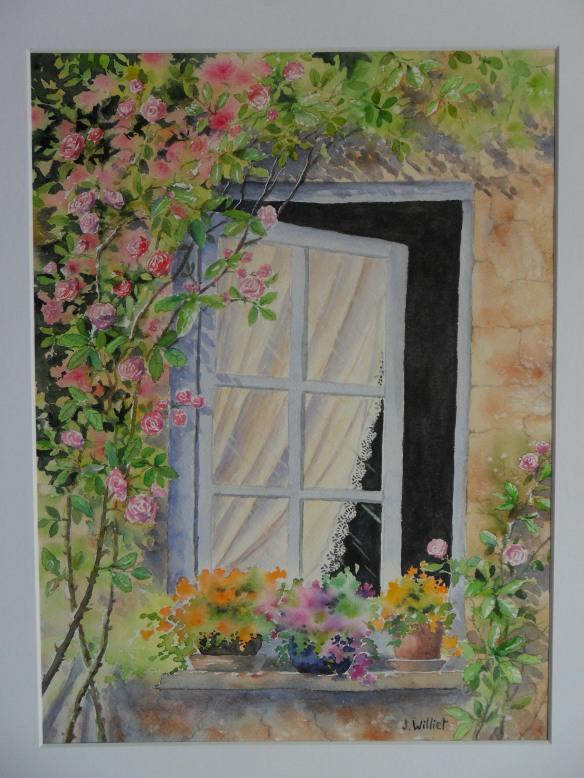 La fenêtre fleurie (30 x 40 cm)