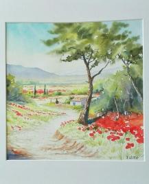 Promenade aux coquelicots (30 x 30 cm)