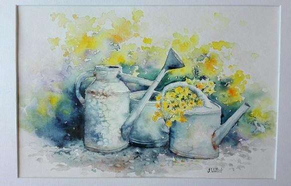 Les arrosoirs fleuris (20 x 30 cm)