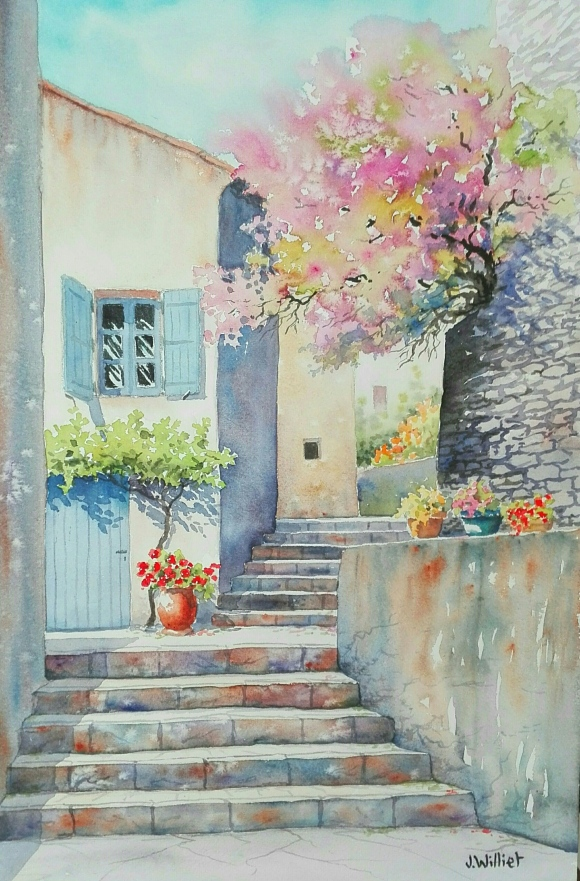 Escalier fleuri à Fontaine de Vaucluse