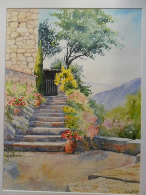 Les marches fleuries (30 x 40 cm)