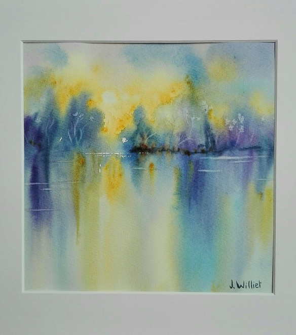 Reflets jaunes et bleus (20 x 20 cm)