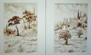 Paysages au brou de noix