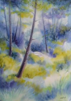 Sous les pins bleus (35 x 45 cm)