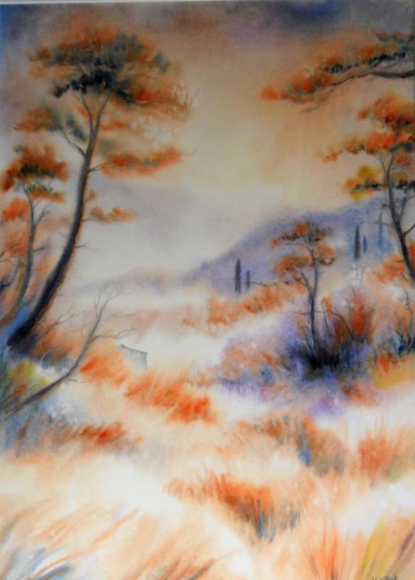 Sous les pins de Roussillon (43 x 60 cm)-